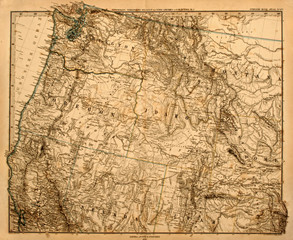 Original map of America's Pacific Northwest, printed in 1875.