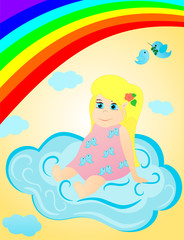 Little girl on the clouds