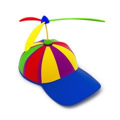 Multicolored baseball toy cap (3d render)