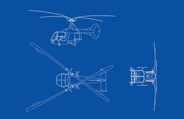 blue print illustration of old Bell Helicopter