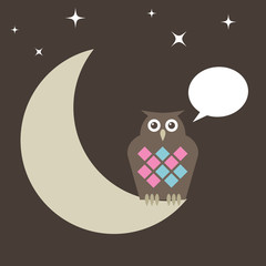 owl perched on moon