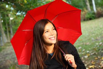 Leinwandbilder - Red umbrella woman