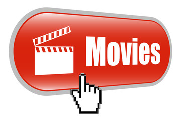 Movie Clapper Board Sign Icon with Mouse Cursor
