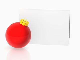 card and red christmas ball
