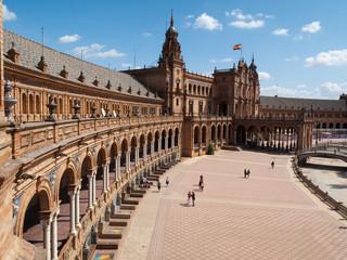 Perspectives et courbe sur la place d'Espagne à Séville