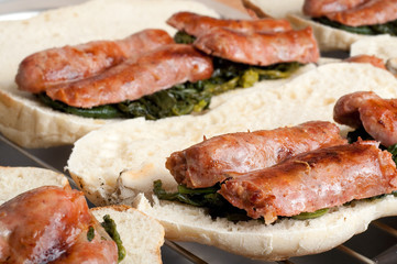 Italian Sausages with fried Neapolitan Broccoli and Italian Sand