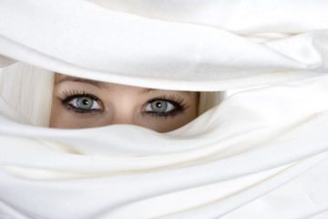 blond girl eyes