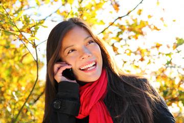 Leinwandbilder - Happy phone woman