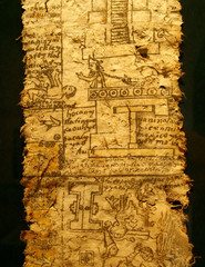 A page of codex. Aztec Empire, reign of Emperor Moctezuma