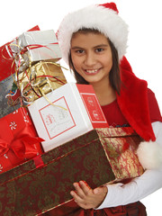 child carrying presents