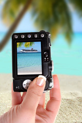 Taking picture ofl ship and beach