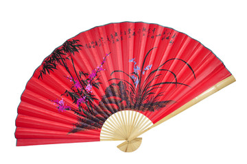 red Chinese fan on the white background. (isolated)