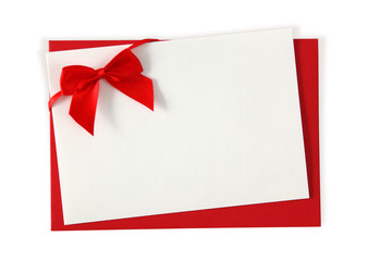 Red paper envelope with white card