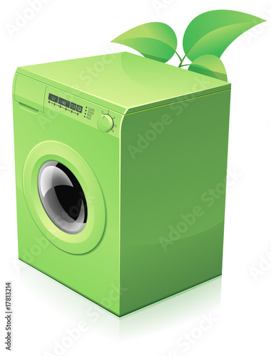 lave linge vert cologique reflet fichier vectoriel libre de droits sur la banque d 39 images. Black Bedroom Furniture Sets. Home Design Ideas