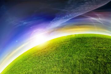 green planet sunset