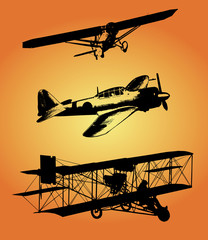 Vector illustration of three planes on orange background