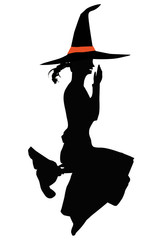 a sympathetic witch on broomstick isolated on white