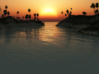 Sunset Over Tropical Island