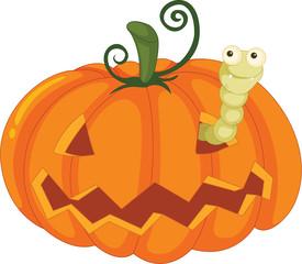 worm and pumpkin