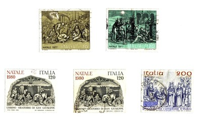 italian old  Christmas stamps,  Nativity..