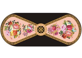 stripe with rose flower pattern