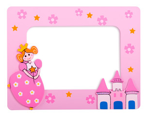 glamourous pink  photo frame with castle and a princess on it