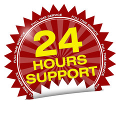 button label logo 24 hours support full time service