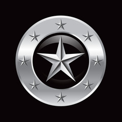 Silver star in round silver star circle frame