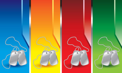 Dog tags on vertical colored banners