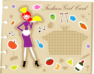 Fashion cooking woman fake paper, glamour note, retro style back