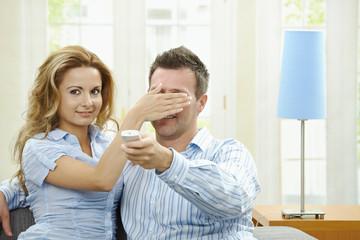 Love couple watching TV