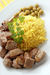organic pilau rice with grilled beef goulash