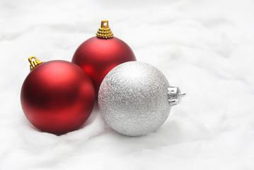 Christmas balls on the snow