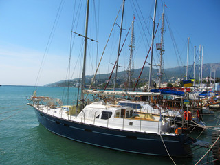 Yachts in port, Yalta, Crimea, Black sea.