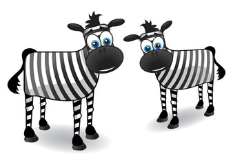 two cartoon vector zebras
