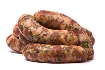 Raw sausages on white background