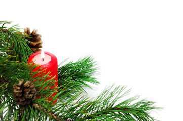 Christmas decoration with a pine branch and candle