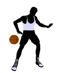 Male Basketball Player Illustration Silhouette