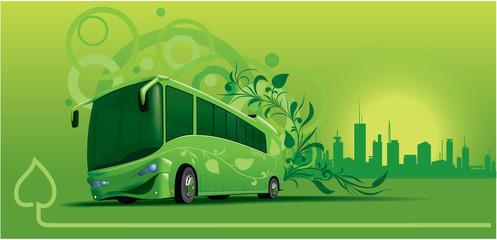 Bio-bus under art-decor background
