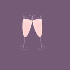 Pink Champagne Glasses on Plum Background