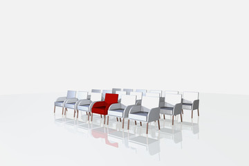 red and one white chairs on white background