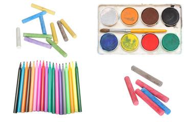 Chalks, felt pen and  watercolour