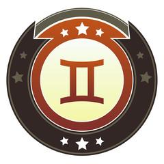 Gemini zodiac astrology sign on autumn button
