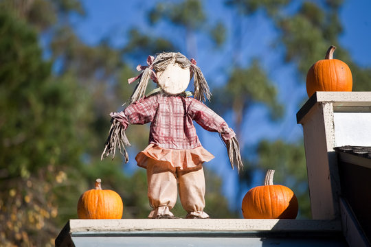 Scarecrow decoration and pumpkins on the roof