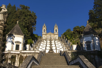 Basilic of Bom Jesus Braga whith tipical stairs, in the north of