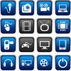 Multimedia icon set. Vector illustration