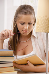 Student girl thinking