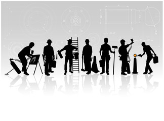 Construction workers with tools on technical background