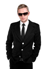 Stylish confident young business man isolated on white