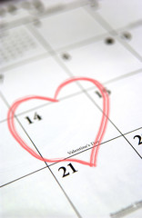 Calendar with heart drawn on Valentines Day